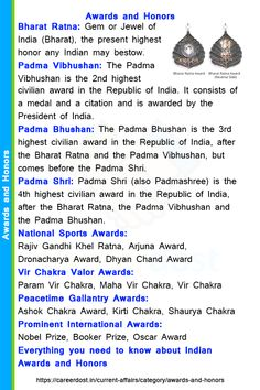 Everything you need to know about Indian Awards and Honors - Careerdost 🔹 Bharat Ratna 🔹 Padma Vibhushan 🔹 Padma Bhushan 🔹 Padma Shri General Knowledge Quiz Questions, Gk Questions And Answers, General Knowledge Book, Gernal Knowledge, Knowledge Quotes, English Vocabulary Words, Learn English Words, Learning Quotes, Education Quotes