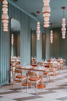 Restaurant Interior in Warsaw by Buck.Studio Restaurant Interior in Warsaw by Buck. Hotel Restaurant, Restaurant Lighting, Commercial Design, Commercial Interiors, Decoration Vitrine, Restaurant Interior Design, Studio Interior, Restaurant Interiors, Cafe Interiors