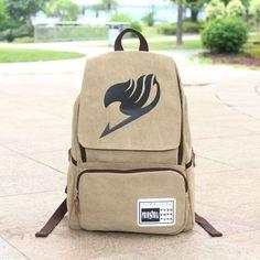 Hot Anime Fairy Tail Logo Vintage Canvas Backpack School Satchel Hiking Bag