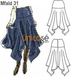 Imagen del Producto Fashion Sewing, Denim Fashion, Skirt Fashion, Fashion Dresses, Dress Making Patterns, Skirt Patterns Sewing, Clothing Patterns, Sewing Clothes, Diy Clothes