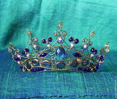"""Купить Диадема """"Королевский синий"""" - венец, диадема, фентези, синий, жемчуг натуральный, великолепный век"""