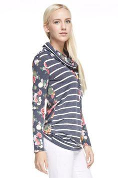 Navy Stripe Floral Top