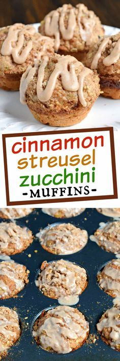 ***Cinnamon Streusel Zucchini Muffins ~ are packed with flavor, delicious and easy. From the perfect zucchini muffin recipe to the crunchy streusel topping and sweet cinnamon glaze, these are a wonderful treat for breakfast or dessert! Köstliche Desserts, Delicious Desserts, Dessert Recipes, Yummy Food, Zucchini Muffin Recipes, Zuchinni Recipes, Zucchini Bread, Lemon Zucchini Muffins, Zucchini Noodles