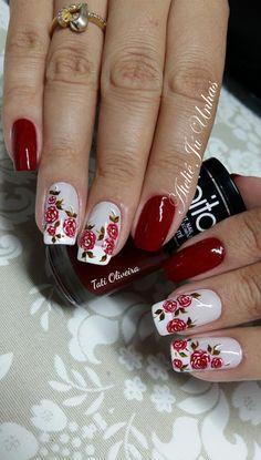 rosas45 Pretty Nail Art, Cute Nail Art, Cute Nails, Nail Art Printer, Diy Nail Designs, Flower Nails, Nail Arts, Diy Nails, Hair And Nails