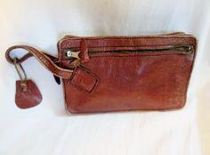 Rustic COLUMBIA Leather Baguette Wristlet Purse Wallet Clutch Pouch Case BROWN 7455