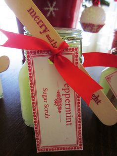 Gotta try it with grape seed oil and peppermint.  Cute idea for the stir stick, too!