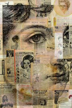 Collage by Michelle Caplan; collage a piece of paper, then put through the printer and print large image on top. Collage Portrait, Newspaper Art, Vintage Newspaper, Mixed Media Collage, Collage Collage, Paper Collage Art, Painting Collage, Paintings, Photocollage
