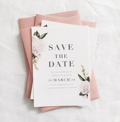 trendy wedding invitations simple floral save the date Affordable Wedding Invitations, Engagement Invitations, Beautiful Wedding Invitations, Simple Wedding Invitations, Save The Date Invitations, Wedding Invitation Wording, Invite, Floral Wedding Stationery, Pink Invitations