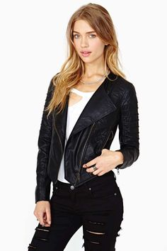 Nasty Gal Quilted Leather Moto Jacket - Jackets + Coats   All   Jackets + Coats   Clothes