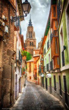 HDR image of street in Segovia, Spain.