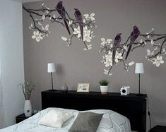 Branch Stencil for Walls - Magnolia Tree Branch with Birds - Large, Reusable DIY Wall Stencil Large Wall Stencil, Leaf Stencil, Stencils, Stencil Diy, Bedroom Wall, Bedroom Decor, Diy Wall, Wall Decor, Magnolia Branch