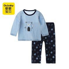 Baby Boy Girl Crew Neck Long-Sleeve Solid Color Climbing Clothes Baby Shark DOO DOO DOO DOO Jumpsuits Sleepwear