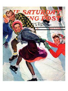 Saturday Evening Post skating cover