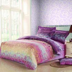 Aqua Blue Yellow Pink and Purple Beautiful Country Scene Full, Queen Size 100% Cotton Bedding Sets