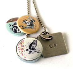 Stamped OWL Locket - Squirrel Deer Locket Necklace Eco Friendly Nature Woodland Girl Guy Gift BE Magnetic Jewelry - Upcycled by Polarity on Etsy, $28.00