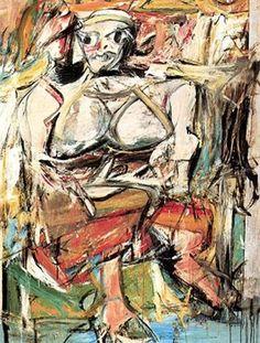 Titel: Vrouw Kunstenaar: Willem de Kooning Datum: 1956 Materiaal: Olieverf op doek Museum: onbekend Stroming: Abstract expressionisme