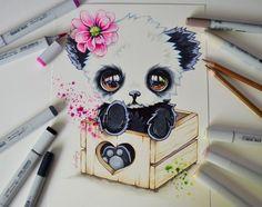 Cute Colored Fantasy Animal Drawings Baby Panda in a box by Lisa Saukel Cute Animal Drawings, Kawaii Drawings, Cute Drawings, Baby Cartoon Drawing, Cartoon Drawings, Panda Drawing, Baby Drawing, Fantasy Animal, Fantasy Creatures