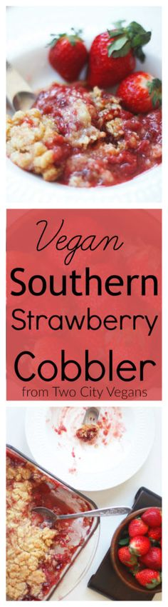 A delicious cobbler just like the kind grandma use to make. Our easy vegan strawberry cobbler will warm your heart and your stomach with familiarity.