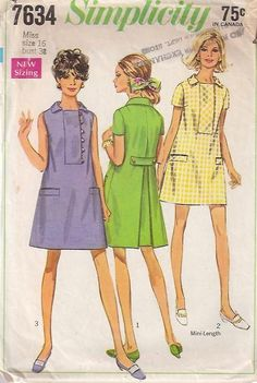 Wrap Dress Pattern Simplicity 5071 Bust 31 or 34 Low V Back Wrapped Flared Skirt Jumper Dress Womens Vintage Sewing Patterns Vintage Dress Patterns, Vintage Dresses, Vintage Outfits, Vintage Clothing, 1970s Dresses, Tunic Pattern, Simplicity Sewing Patterns, Trousers Women, Coats For Women