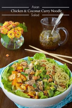 Asian Chicken and Coconut Curry Noodle Salad - a fresh, delicious and healthy salad with noodles, lean chicken and a sweet and spicy Asian-inspired dressing