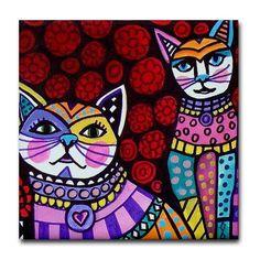 Ceramic Tile Coasters - White Cats Folk Art Print on Ceramic Tile Folk Art Colorful Red Roses Pink Yellow. $20.00, via Etsy.