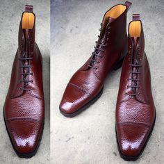 """If you've always fancied our """"Urban Commando"""" boot but thought of the square Deco last as being too elongated and sharp, this might be the right boot for you. Made to Order in chestnut English grain on the MH 71 last. #gazianogirling..."""