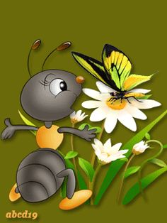 The Ant & The Butterfly Gif Pictures, Cute Pictures, Cartoons Love, Beautiful Gif, Good Morning Good Night, Gd Morning, Morning Messages, Night Messages, Morning Quotes