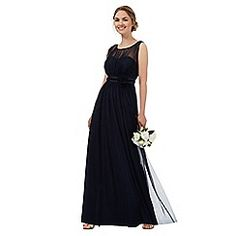 Perfect for your occasion look, this gorgeous maxi bridesmaid dress from Debut comes in dark blue in a relaxed fit with a beautiful corsage. Navy Bridesmaid Dresses, Prom Dresses, Formal Dresses, Wedding Dresses, Bridesmaids, Debenhams, Corsage, Dress Making, Beautiful