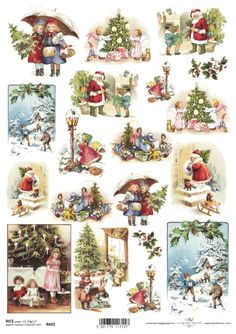 Rice Paper for Decoupage Decopatch Scrapbook Craft Sheet Vintage Christmas Time Retro Christmas Decorations, Vintage Christmas Images, Victorian Christmas, Christmas Pictures, Decoupage Tissue Paper, Tissue Paper Crafts, Christmas Decoupage, Christmas Crafts, Decoupage Vintage