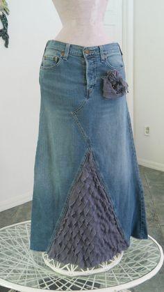 Lavanda de venta Levi jean falda volantes sirena por bohemienneivy