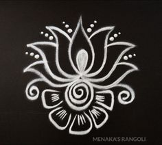 Easy And Beautiful Lotus Rangoli Design Rangoli Side Designs, Simple Rangoli Border Designs, Rangoli Simple, Rangoli Designs Latest, Free Hand Rangoli Design, Small Rangoli Design, Rangoli Ideas, Rangoli Designs Diwali, Rangoli Designs With Dots