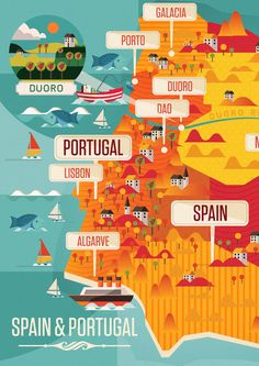 """neil-a-stevens: """" Spain & Portugal By Neil Stevens A detail of a new map i've been working on for Majestiic Wines. Overall there have been 10 new maps i've created for them this week of the various popular wine regions around the globe. These are..."""