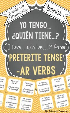 Interactive, whole class game to practice Spanish Preterite Tense -AR verbs