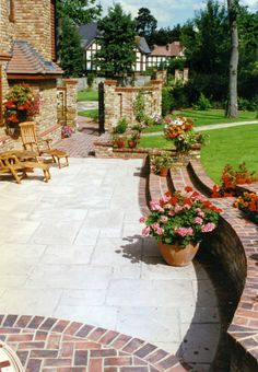 Really like the contrast between the two paving materials Natural stone (jura limestone) and antique brick edging and walling. Paving Stone Patio, Brick Patios, Paving Stones, Concrete Patio, Limestone Patio, Stone Path, Bluestone Pavers, Driveway Paving, Stone Driveway