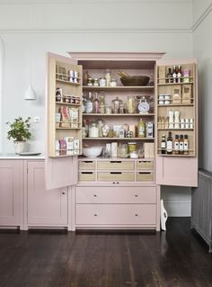 Kitchen ~ How to decorate with pink. Neptune Suffolk larder painted in Old Rose. : Kitchen ~ How to decorate with pink. Neptune Suffolk larder painted in Old Rose. Diy Kitchen Storage, Home Decor Kitchen, Country Kitchen, Kitchen Furniture, Kitchen Interior, New Kitchen, Cheap Kitchen, Kitchen Ideas For Apartments, Organizing Small Kitchens