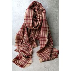 Falling Leaves Burgundy Plaid Scarf ($22) ❤ liked on Polyvore featuring accessories, scarves, red, tartan plaid scarves, long scarves, red shawl, plaid shawl and red plaid scarves