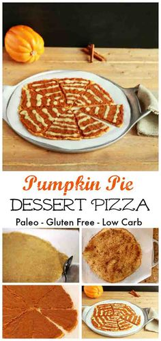 Pumpkin Pie Dessert Pizza- Grain free, paleo & low carb. Pie crust with pumpkin pie spread and a streusel topping.