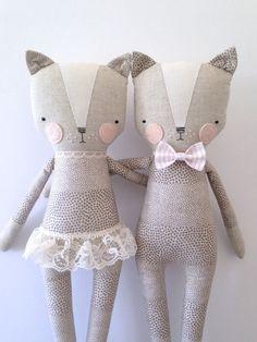 luckyjuju kitty boy cat lovie doll por luckyjuju en Etsy