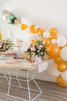 Brunch Bridal Shower Party Tables from a Champagne Brunch Bridal Shower on Kara's Party Ideas Bridal Shower Tables, Elegant Bridal Shower, Bridal Shower Party, Bridal Shower Decorations, Bridal Shower Invitations, Bridal Parties, Bridal Brunch Favors, Bridal Shower Balloons, Bachelorette Parties