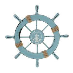Mediterranean Nautical Beach Wooden Boat Ship Steering Wheel Helm Fishing Net Shell Home Wall Décor