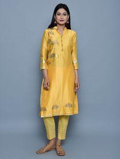 Yellow Chanderi Block Printed Kurta with Cotton Pants - Set of 2