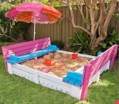 Below is a stunning idea for building a sandbox using pallet wood. Sandbox gives your child an opportunity to indulge in physical activity and enhance motor skills. You can easily build this sandbox along with seats and enjoy accompanying your children.
