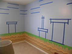 , all of the details have been hand painted to look just like super mario bros game., after i painted the bottom half, had to tape my design, Boys Rooms Design Cool Kids Bedrooms, Kids Bedroom Designs, Awesome Bedrooms, Kid Bedrooms, Bed Designs, Mario Bros, Mario Brothers, Super Mario Room, Boy Room