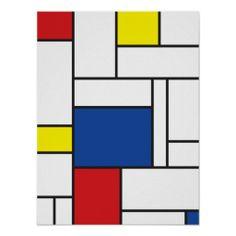 De stijl, kunststroming, basisvormen, basiskleuren, abstract