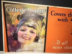 Rare Rolf Armstrong College Humor Trolley Car Sign Gypsy Flapper Girl 1930s