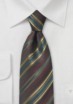 Krawatte Streifen kastanienbraun champagner