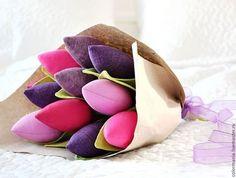 """Букеты ручной работы. Ярмарка Мастеров - ручная работа. Купить Тюльпаны """"Ягодки"""". Handmade. Фиолетовый, тюльпаны, цветы из ткани, handmade"""