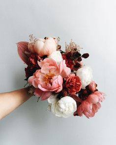 If raspberry sorbet was served up as a bouquet. Floral Wedding, Wedding Bouquets, Wedding Flowers, Bouquet Flowers, Red Flowers, Pink Peony Bouquet, Flowers Bunch, Burgundy Bouquet, Blush Peonies