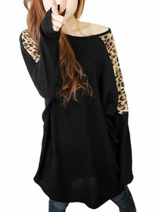 Allegra K Woman Leopard Print Dolman Sleeve Tunic Shirt Top