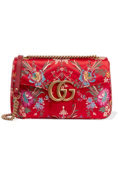 255561cd670 Gucci - Gg Marmont Medium Quilted Floral-jacquard Shoulder Bag - Red - one  size